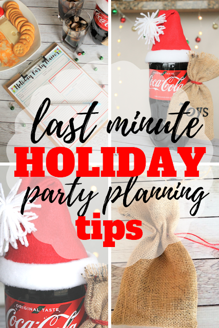 Follow these quick tips for planning a last minute holiday party including a printable party planner, a fun Santa Claus centerpiece and how to be stress free during your party planning. #ad #GiftACoke