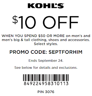 Kohls coupon $10 off $50 men's and men's big & tall clothing