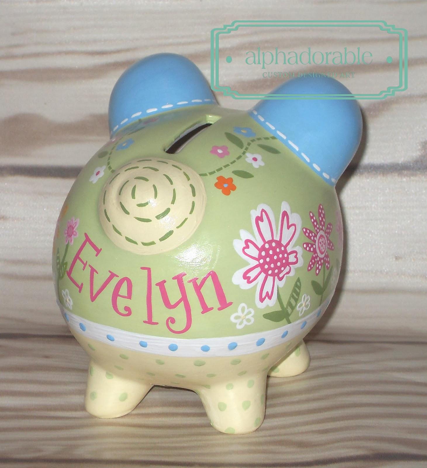 Alphadorable Custom Piggy Banks For A Daisy Garden Nursery