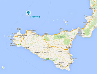 Ustica map, Sicily
