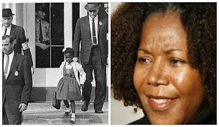 Vida real: A primeira criança negra a ir para a escola, com o fim da política de segregação racial nos EUA, em Nova Orleans, em 1960. Seu primeiro dia de aula foi marcado por xingamentos, medo, racismo. A escola, pasmem, estava vazia, pois os pais não deixaram seus filhos frequentarem o ano escolar com a presença de Ruby. Também não havia professores, apenas um educador quis dar aula para Ruby. Seus pais foram severamente ameaçados. E, durante meses, ela teve que ir e voltar da escola acompanhada por 4 policiais. E mesmo quando objetos e xingamentos eram jogados contra seu corpo, com 6 anos de idade, Ruby não desistiu, não chorou, sequer fraquejou. Era uma pequena soldada - palavras de Charles Burks, um dos quatro policiais que a escoltavam. No ano seguinte, Ruby não estava mais sozinha na escola. Inspirados por sua coragem e pela de sua família outras crianças negras foram matriculadas. Duas fotos lado a lado. À esquerda, foto antiga em preto e branco, cercada por três agentes policiais, uma garotinha negra desce as escadas de um prédio segurando com a mão direita uma pasta escolar: ela usa uma flor sobre os cabelos curtos, jaleco sobre vestido rodado, meias soquetes e sapatos. À direita, foto atual e colorida: close do rosto oval de uma mulher negra, cabelos curtos com cachos, sobrancelhas finas, olhos amendoados castanhos escuros, nariz largo, um discreto sorriso evidencia os lábios grossos pintados com batom vermelho e dentes alvos. Título da matéria: Ruby Bridges! Uma pequena heroína.