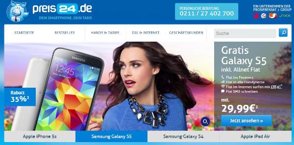 preis24.de - Handy mit Vertrag günstig online bestellen - Shoptest, Erfahrungen mit Webseite und Service