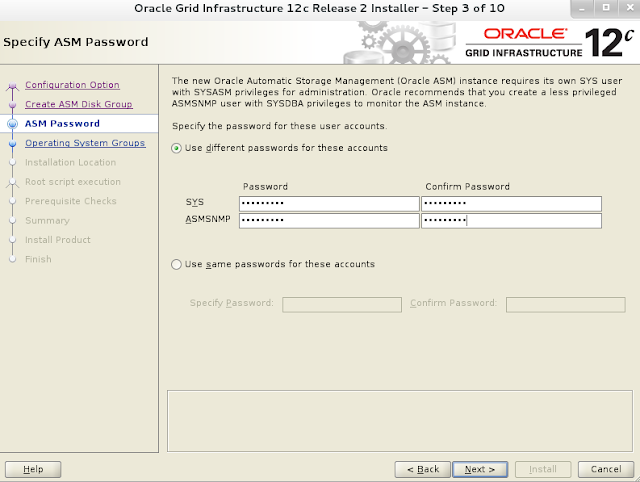Oracle 12c grid infrastructure installation wizard screen 4