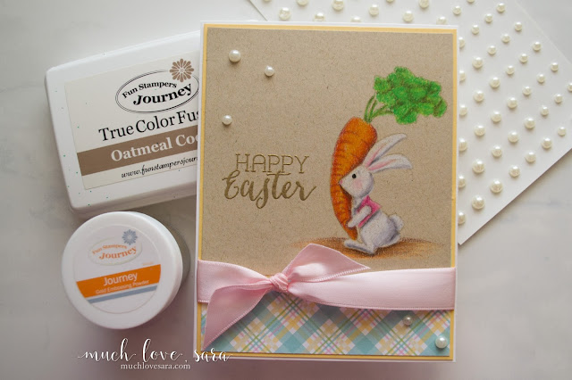 Cute Easter card featuring the Love Bunny ATS stamp from Fun Stampers Journey.  Image was colored using a no line technique on kraft colored card stock.  Pretty pastels from the Spring Filled Prints papers complement the Easter image.