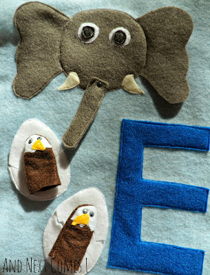 Adorable letter E quiet book page for kids from And Next Comes L