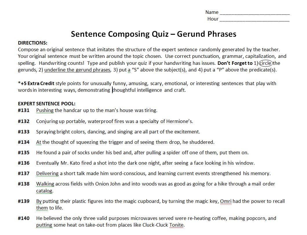 Mr Chappell S Most Excellent Blog Gerund Phrases Quiz