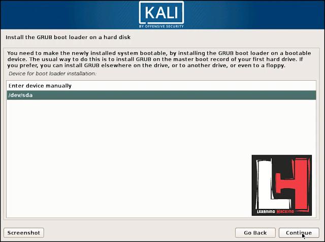 installing a GRUB Bootloader in kali linux