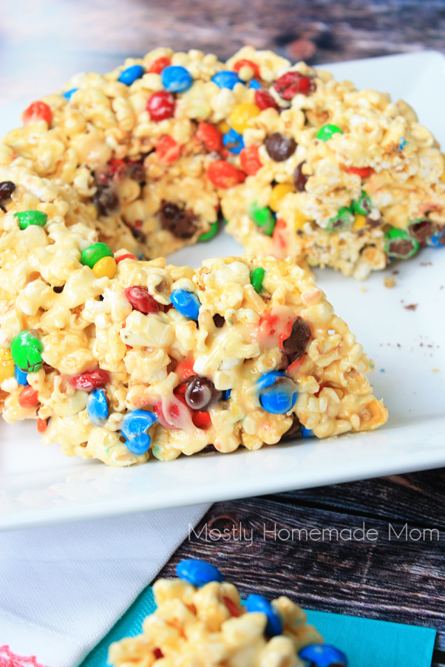 M&M Marshmallow Popcorn Birthday Cake recipe
