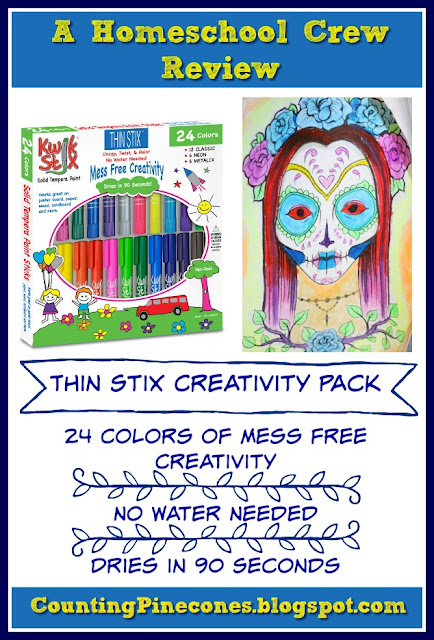 """The fact that they dry quickly along with the fact they are mess free (and can be wiped away with soap and water easily) makes them a staple in our household, especially over spillable plastic containers of tempera paint."" #hsreviews #KwikStix, #temperapaint, #kidsartsupplies"