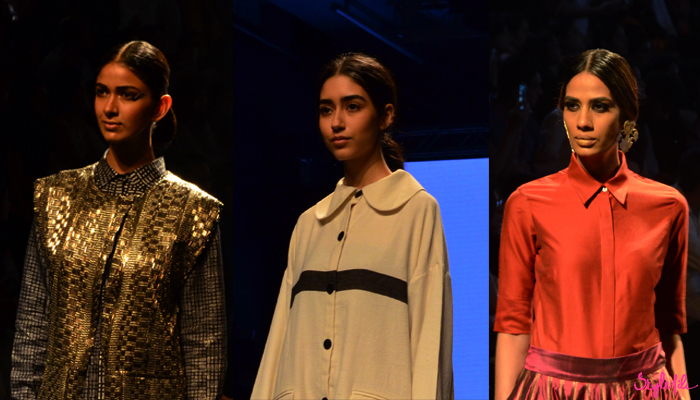 Image of female models wearing slicked back bun hairstyle as a beauty trend for the Gaurang, Runway Bicycle and Payal Khandwala show at Lakme Fashion Week Winter Festive 2016