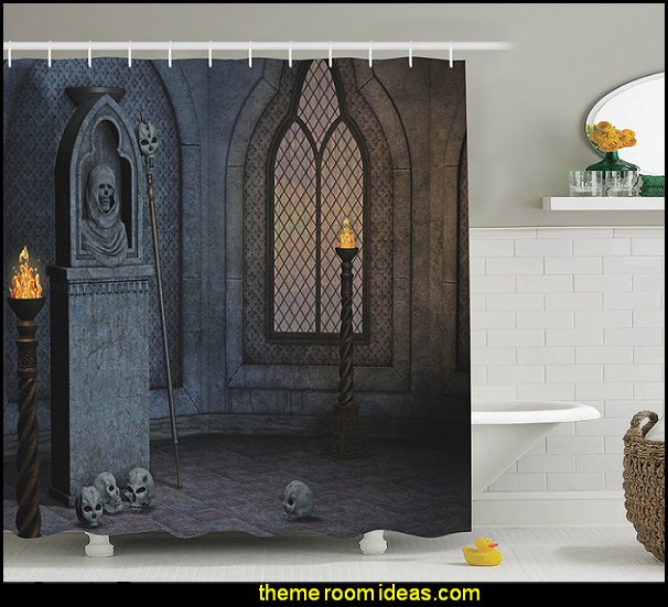 Gothic Scenery Mystical Spooky Moonlight Darkness Skulls Ghost Story Art, Polyester Fabric Bathroom Shower Curtain Set