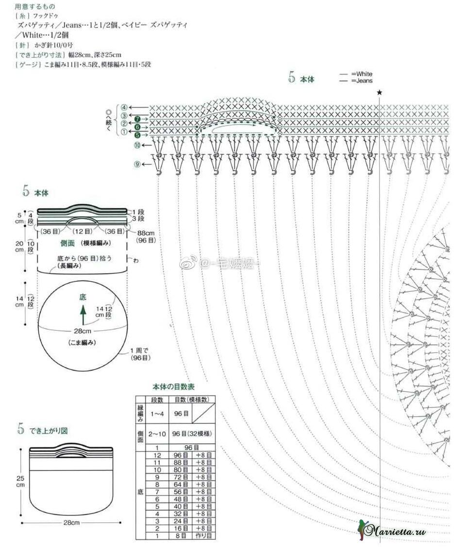 Корзинка для белья крючком. Схемы вязания (4)