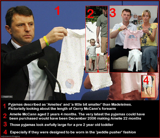 "Dr Martin Roberts: ""If Madeleine's pyjamas had not, in fact, been abducted then neither had Madeleine McCann."" McCann%2BPyjamas"