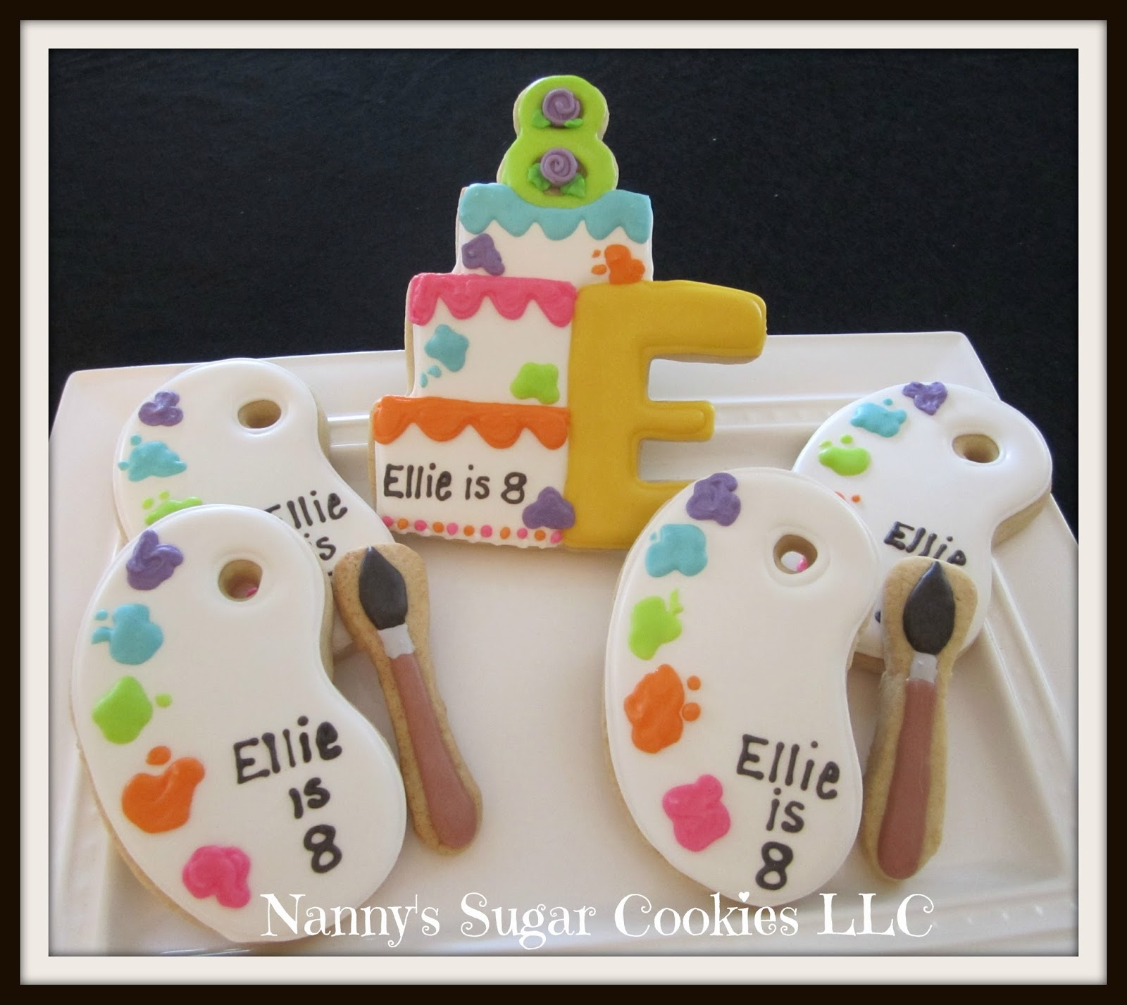 Nannys Sugar Cookies LLC Artist Palettes for a Birthday Girl