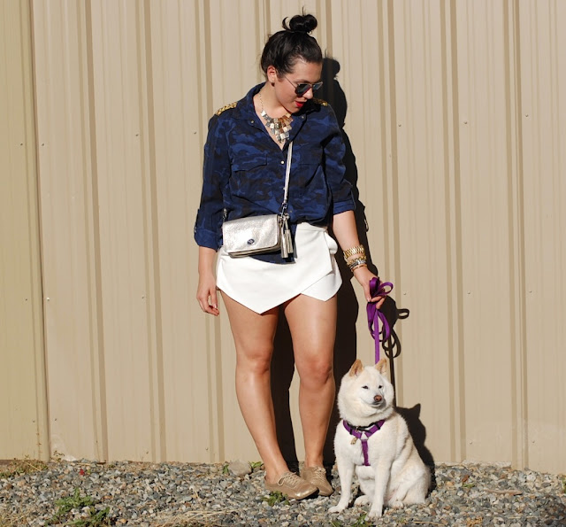 Camo Zara blouse, Zara skort, Coach Legacy crossbody, aviators and shiba inu.