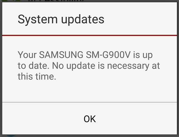 Your Android device is up to date. No update is necessary at this time.