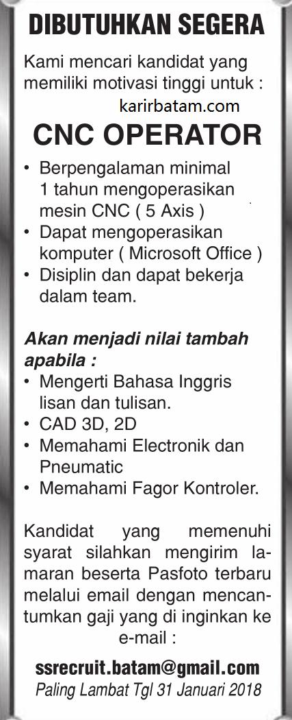 Lowongan Kerja CNC Operator (Ditutup 31 Januari 2018)
