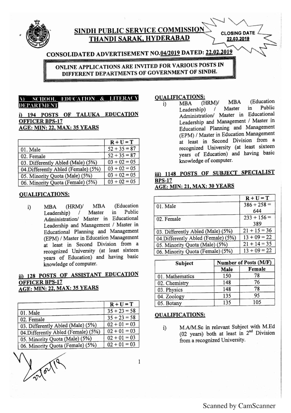 SPSC Advertisement 04/2019 Page No. 1/3