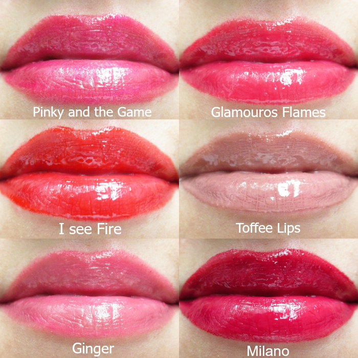 Review: Tragebilder uma cosmetics pinky and the game, glamouros flames, i see fire, toffee lips, ginger, milano