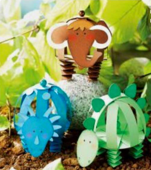 Idea to make dino from paper for kids