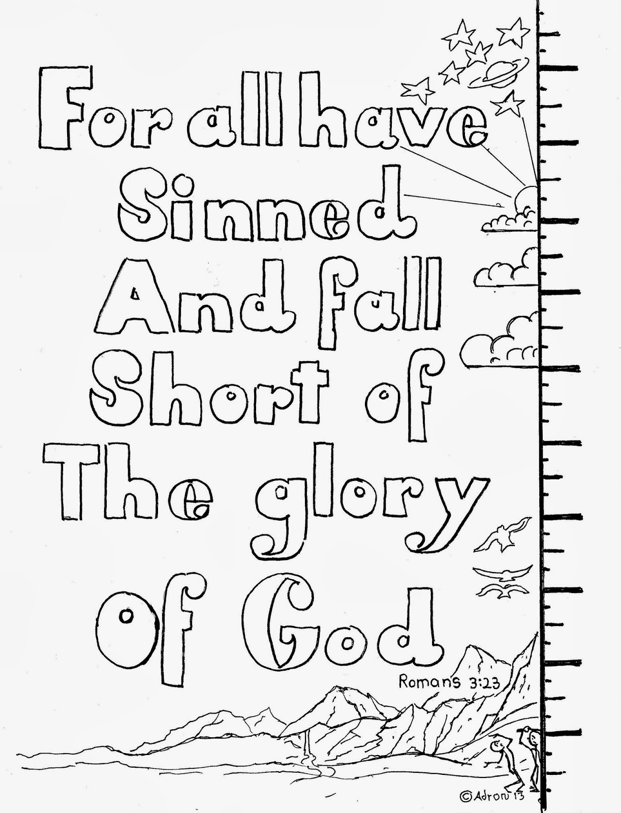 Coloring Pages For Kids By Mr Adron Romans 3 23 For All
