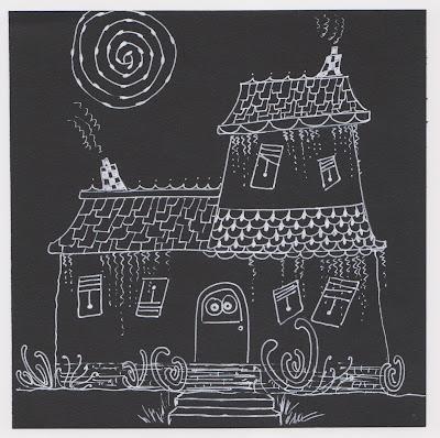 zentangle haunted house diva challenge #291