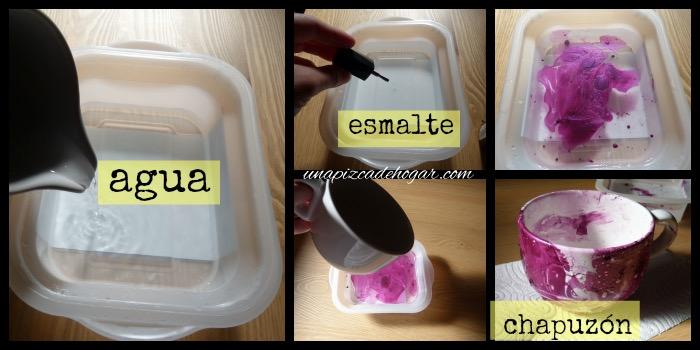 proceso para decorar una taza con esmalte de uñas