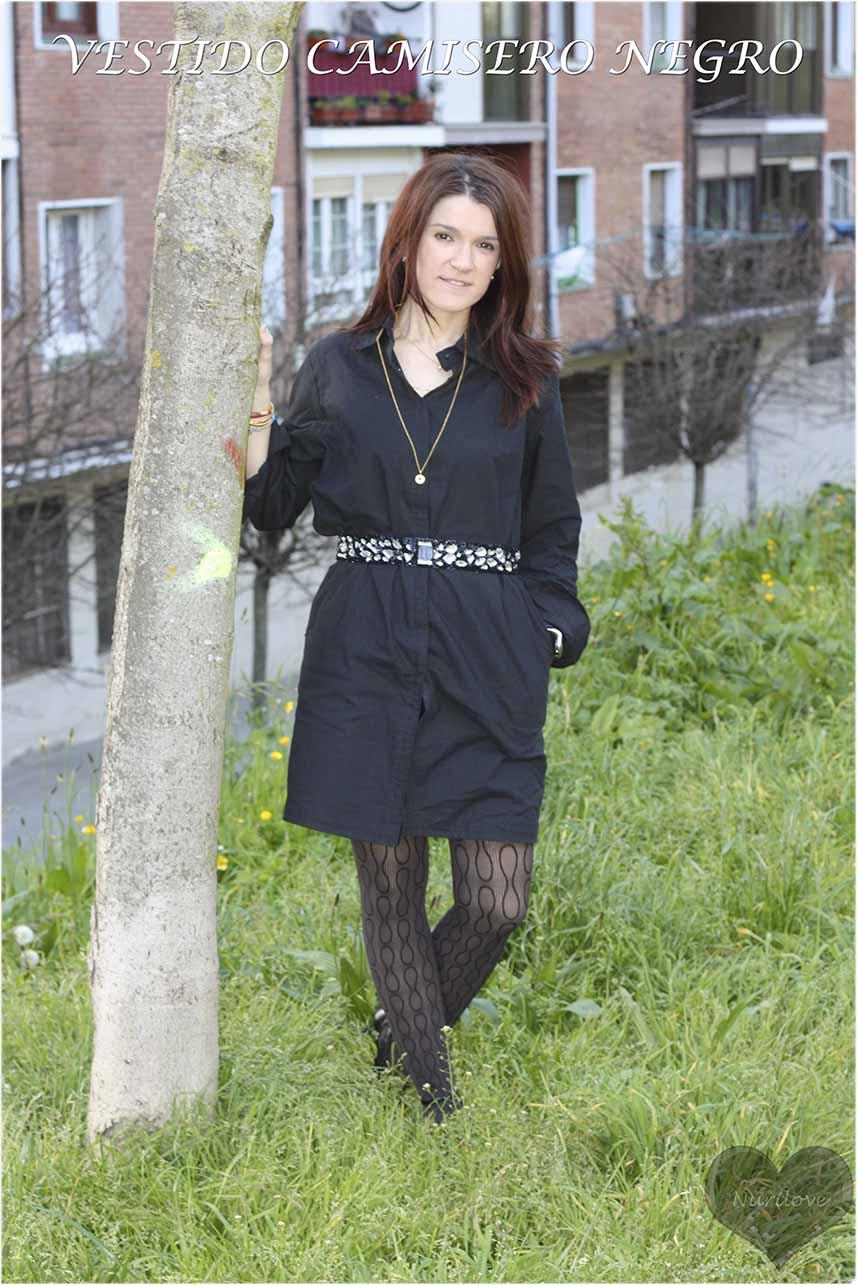 Vestido camisero negro, un diseño exclusivo de Eduardo Loreto