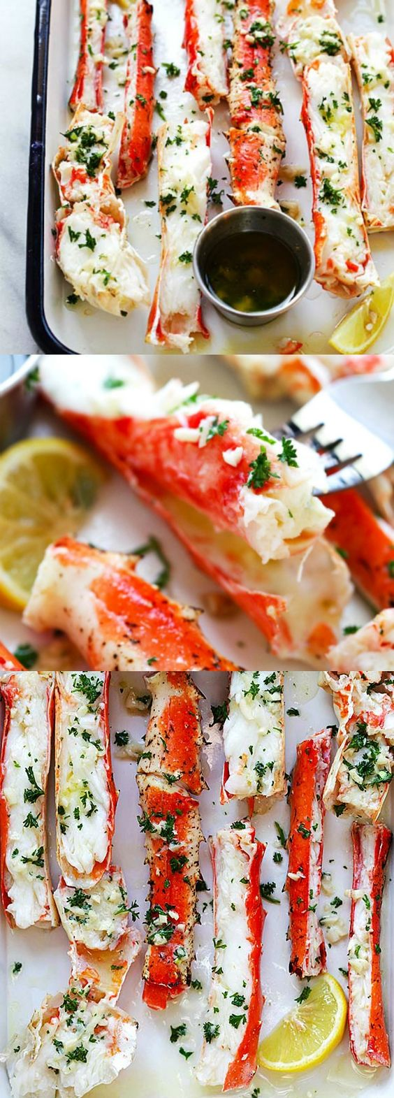 Garlic Lemon Butter Crab Legs - crazy delicious king crab legs in garlic herb and lemon butter. This crab legs recipe is so good you want it everyday!