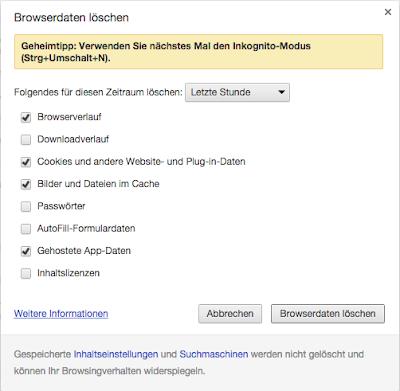 App Cache Löschen