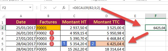 Schématisation de la fonction DECALER Excel