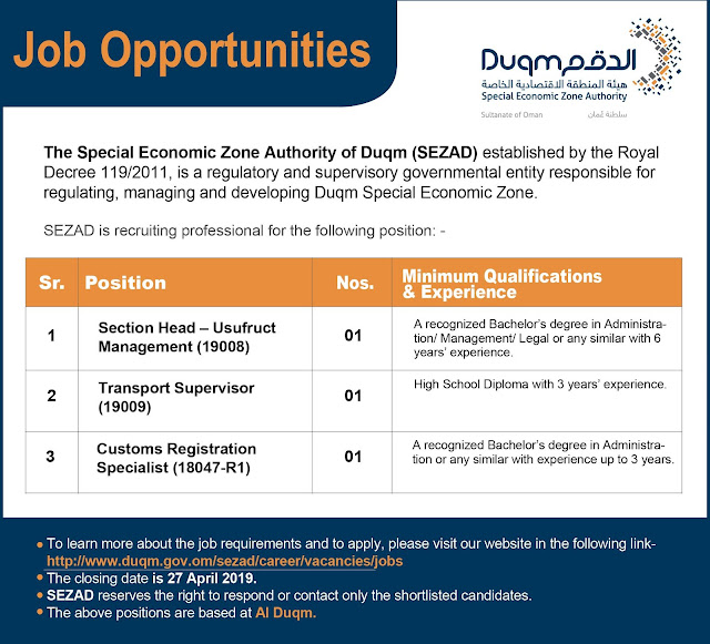 Jobs in Duqm - opportunities at the Special Economic Zone Authority in Duqm