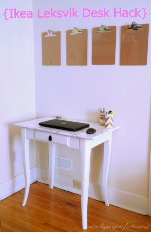 Ikea Leksvik Desk Hack: Marble Contact Paper + White Paint. Done!