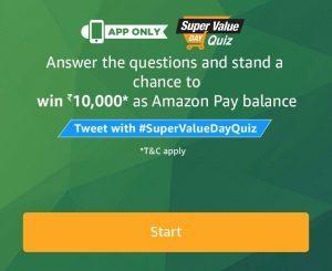 (All Answers) Amazon Super Value Day Quiz – Answer & Win Rs.10000