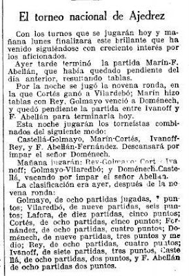 Recorte de La Vanguardia sobre el Torneo Nacional de Ajedrez Barcelona 1926, 3/10/1926