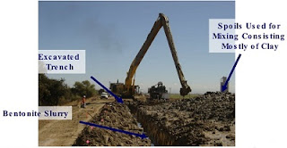 Use of bentonite slurry to protect groundwater from contaminants