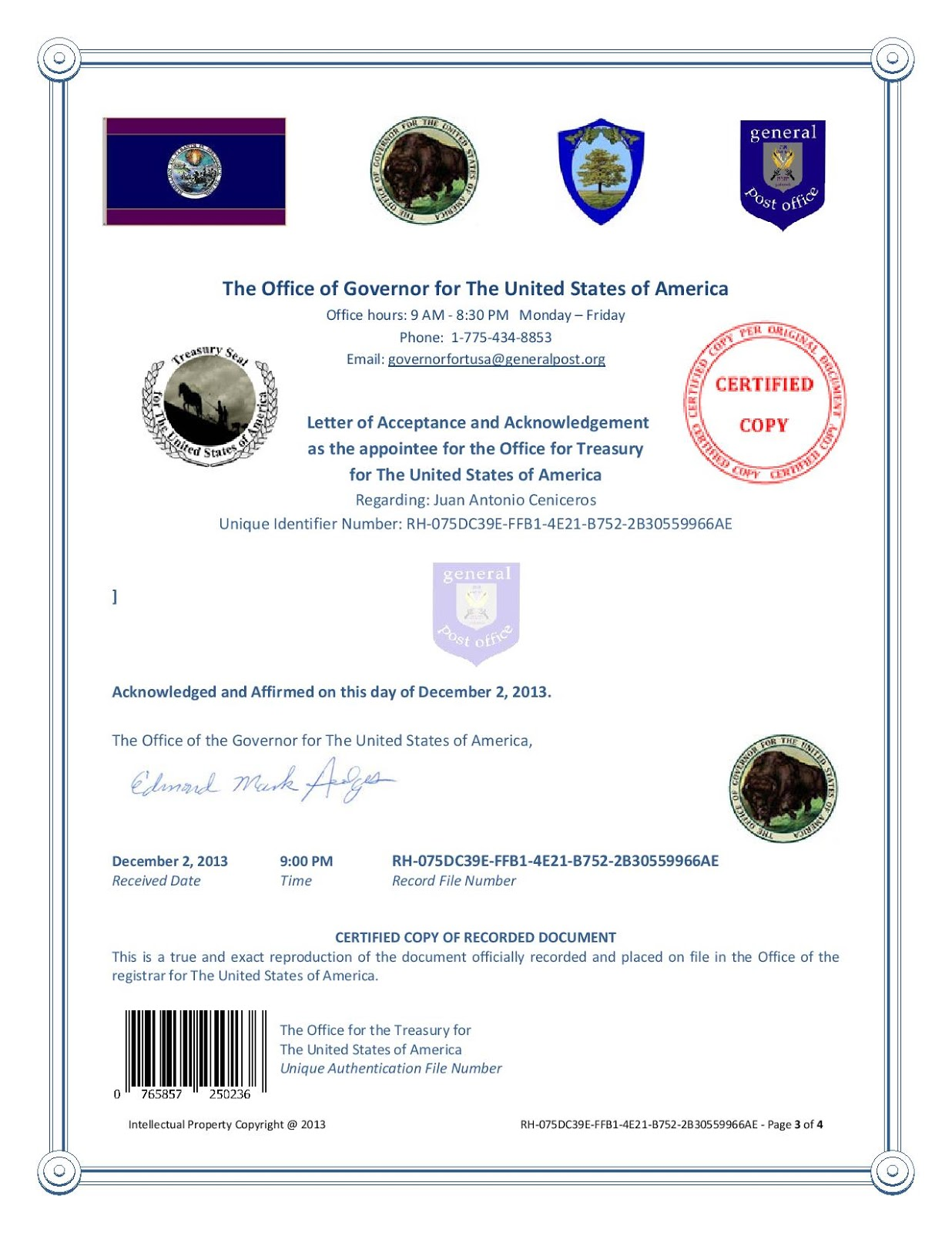 The office of the Treasury for the Government of The United States of America hereby introduces its newest version of its legal tender! Juan-Antonio-Ceniceros-Acceptance-and-Acknowledgement-Treasury-page-003