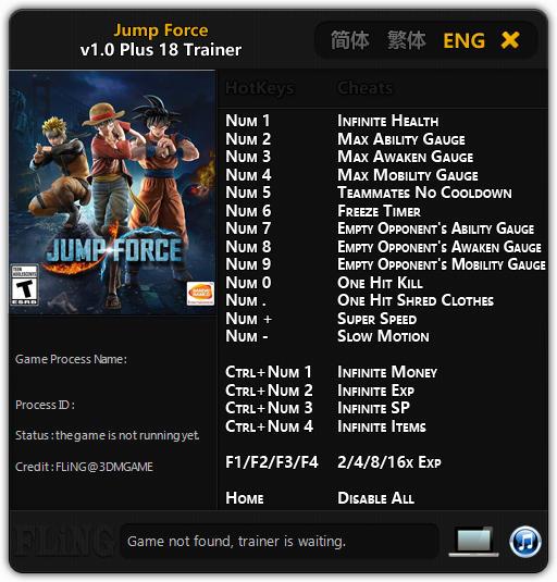 Jump Force (PC) Oyunu Sınırsız Can,Süre +18 Trainer Hilesi 2019