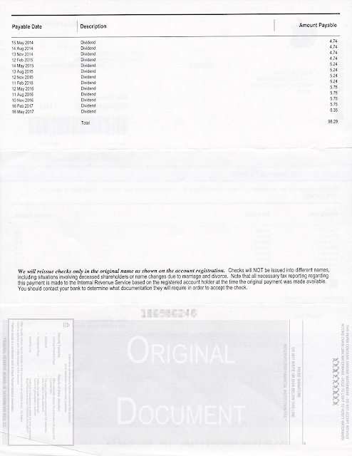 まとめて再発行した配当の小切手(裏)