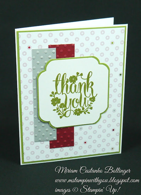 Miriam Castanho Bollinger, #mstampinwithyou, stampin up, demonstrator, thank you, merry moments dsp, a whole lot of lovely, curvy corner trio punch, dsc, perfect polka dot, texture boutique machine, su