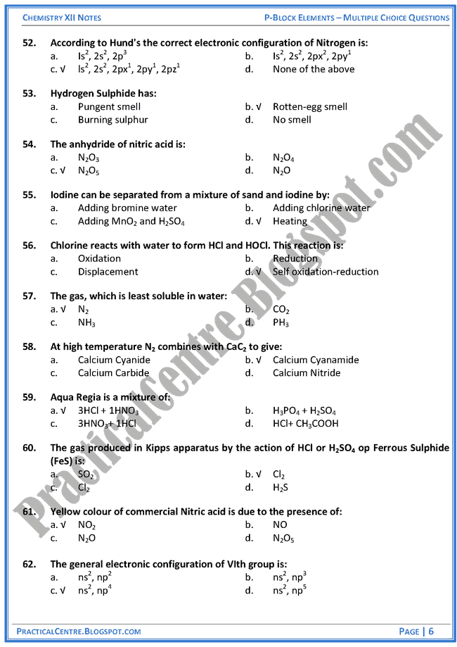 p-block-elements-mcqs-chemistry-12th