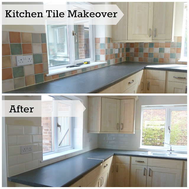 Kitchen makeover changing wall tiles