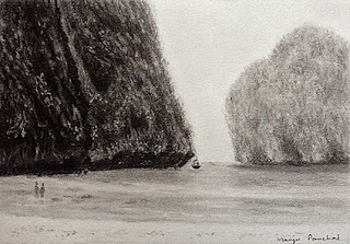 Charcoal sketching of Maya Bay on Fabriano paper by Manju Panchal