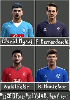 Faces: Elseid Hysaj, Federico Bernardeschi, Klaas-Jan Huntelaar, Nabil Fekir, Pes 2013