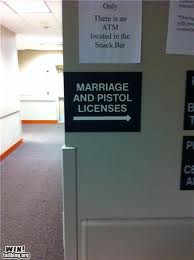 marriage and pistol licences funny sign