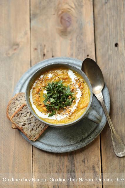 soupe , butternut , velouté , facile , coriandre, curry, dukkah
