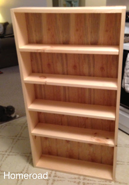 wood from the hardware store creates storage for a small kitchen