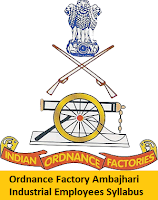 Ordnance Factory Ambajhari Industrial Employees Syllabus