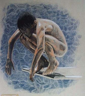 aquarelle, plongeur, tout nu, naturisme, dessin, jeune homme