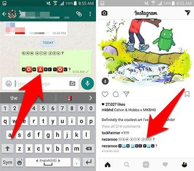 يمكنك مشاركة النصوص المعدلة على تطبيق  Fontsعلى كافة شبكات التواصل